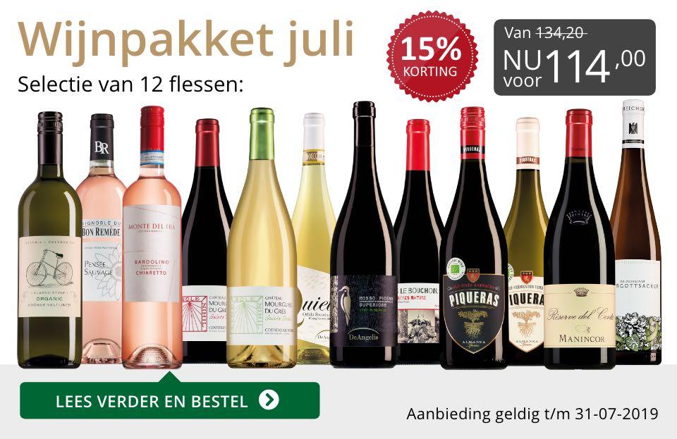 Wijnpakket wijnbericht juli 2019 (114,00)- grijs/goud