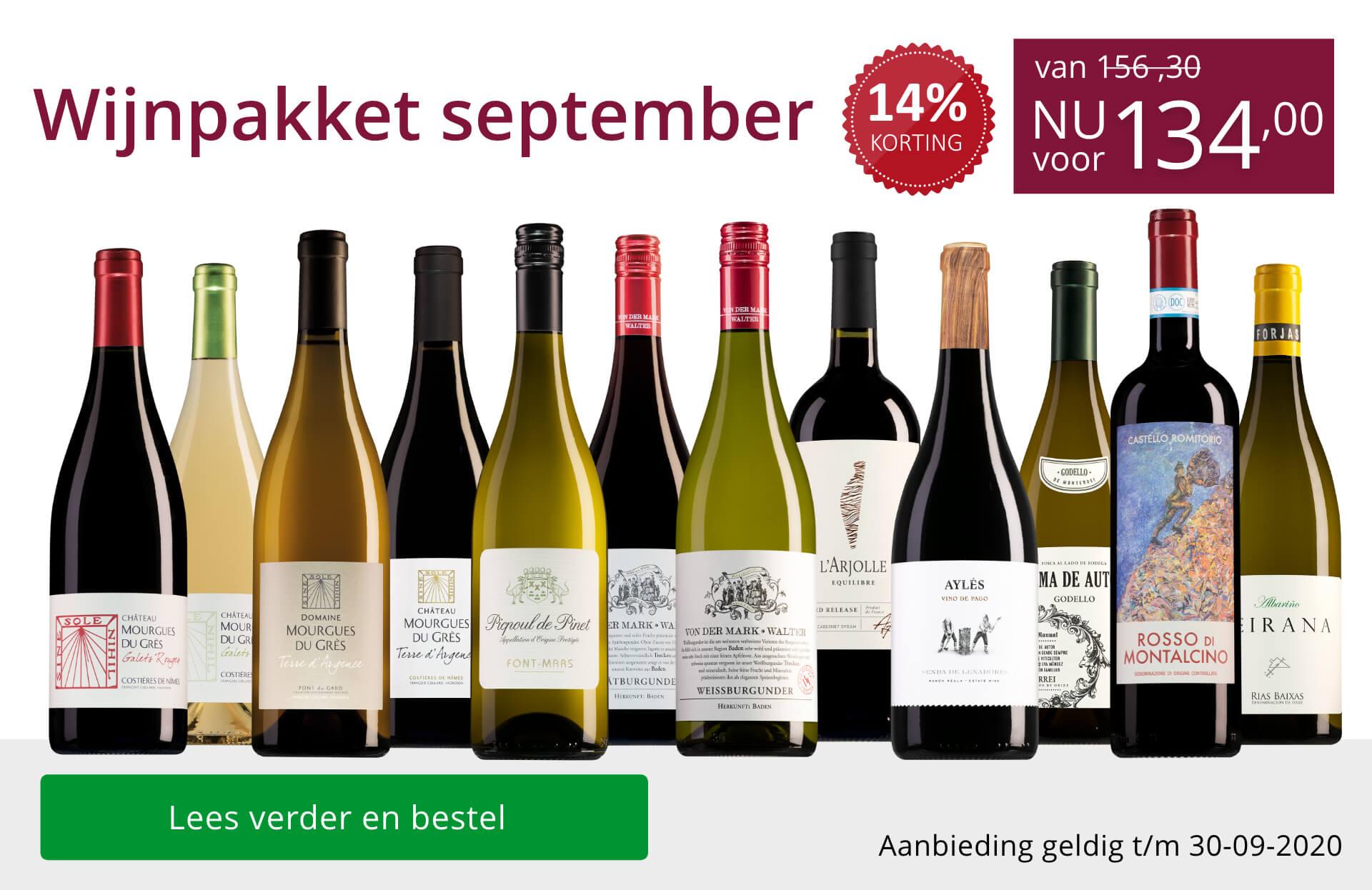 Wijnpakket wijnbericht september 2020 (134,00) - paars