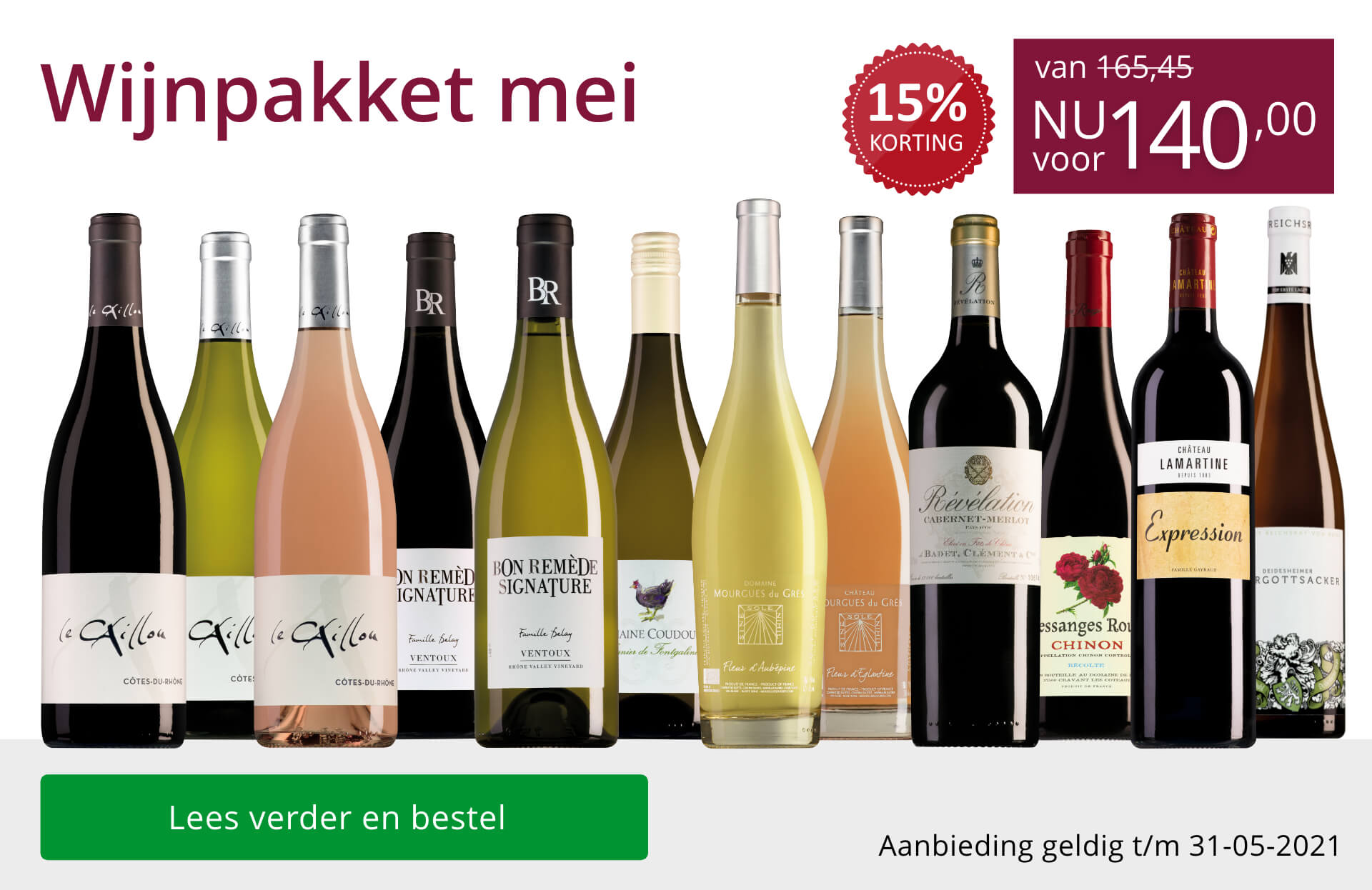 Wijnpakket wijnbericht mei 2021 (140,00) - paars